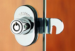 Security cam lock for glass doors
